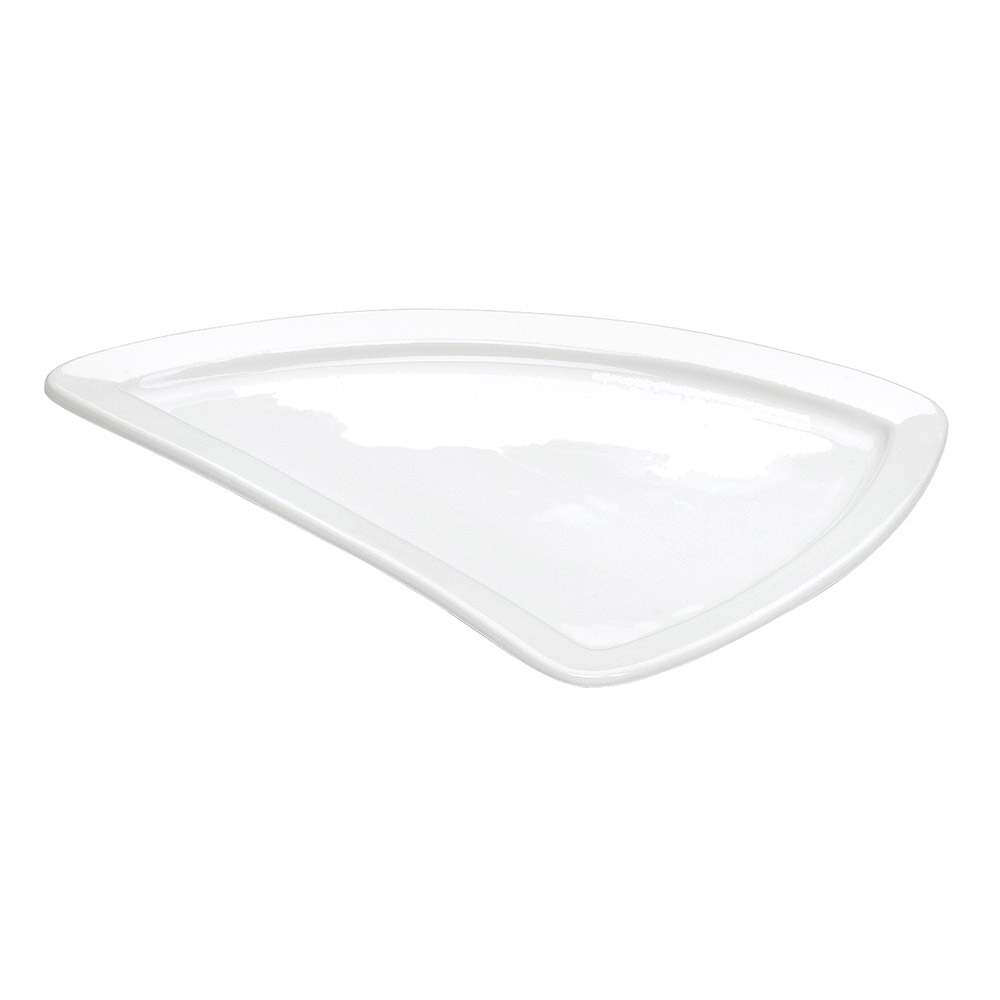"Cal-Mil PP650 13"" Triangle Platter - Porcelain, Bright White"