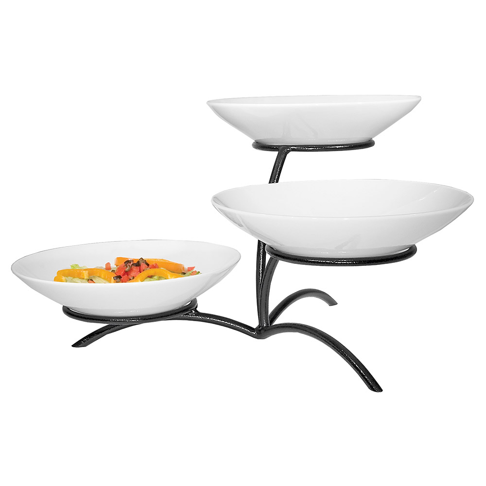 Cal-Mil PP703-39 3-Tier Round Bowl Display - Porcelain, Platinum