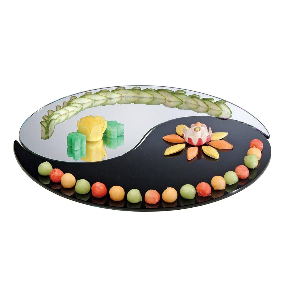 "Cal-Mil PT155 15"" Gourmet Yin Yang Mirror Tray Set - 2-Pieces, (1) Black, (1) Mirror, Acrylic"