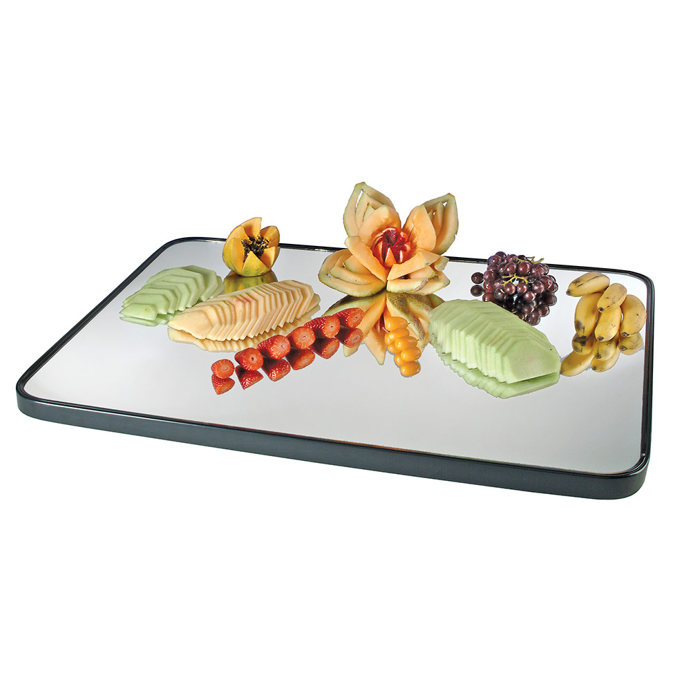 "Cal-Mil RR243 Rectangular Gourmet Display Mirror Tray - 24x18"", Glass, Black"