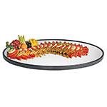 "Cal-Mil RR402 Oval Gourmet Display Mirror Tray - 24x40"", Black Acrylic Trim, Glass"