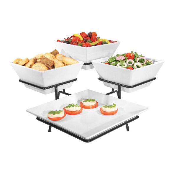 Cal-Mil SR1020-13 3-Tier Gourmet Quad Platter Bowl Display - Melamine, Black