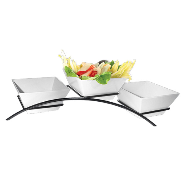 Cal-Mil SR2020-13 3-Tier Square Gourmet Arch Bowl Display - Melamine, Black