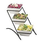 Cal-Mil SR307-13 3-Tier Gourmet Square Bowl Display - Melamine, Black