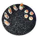 """Cal-Mil SS150-31 15"""" Round Gourmet Faux Stone Serving Tray - Black"""