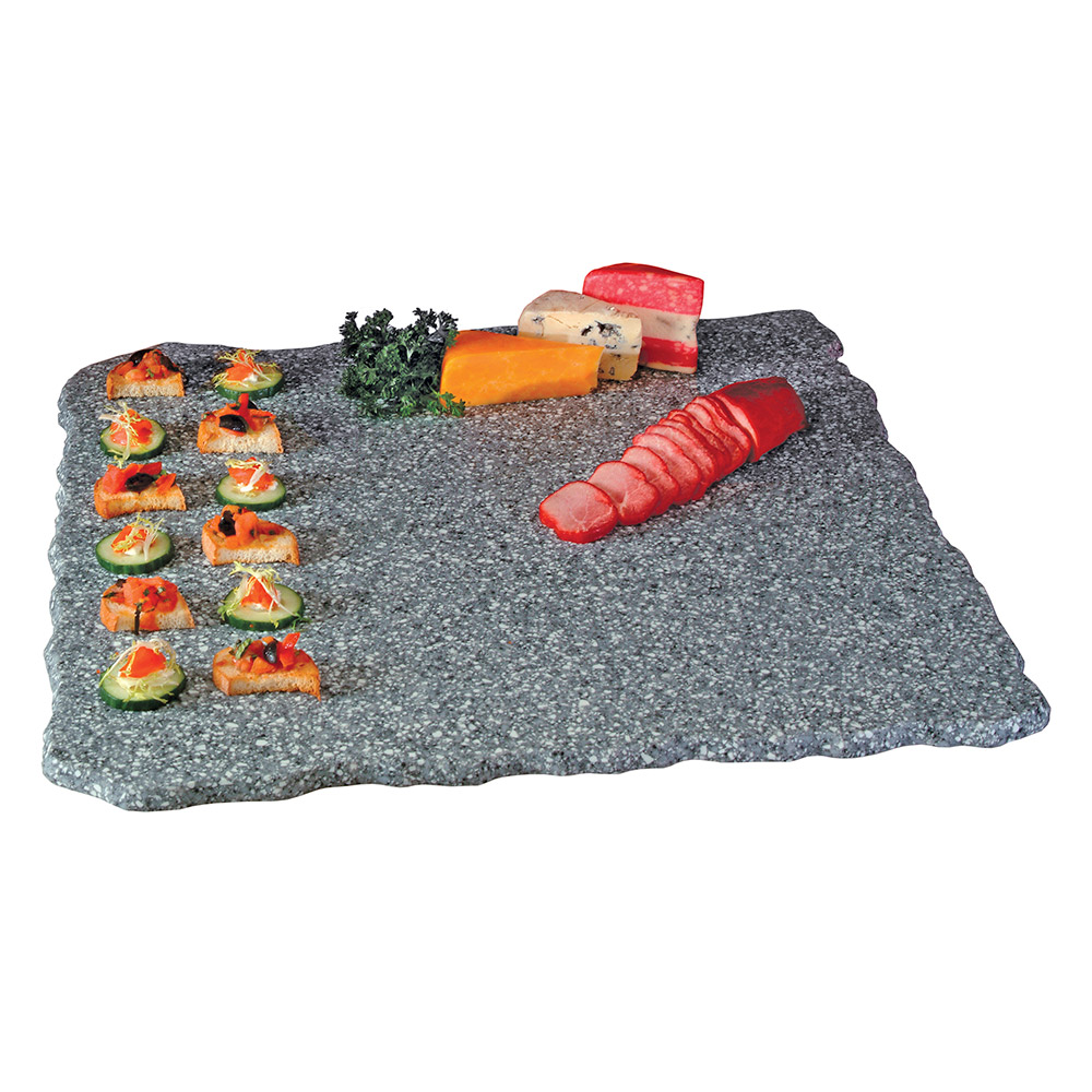 "Cal-Mil SS2289-30 22"" Square Gourmet Faux Stone Serving Tray - Grey"