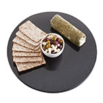 """Cal-Mil SS290-31 39"""" Round Gourmet Faux Stone Serving Tray - Black"""