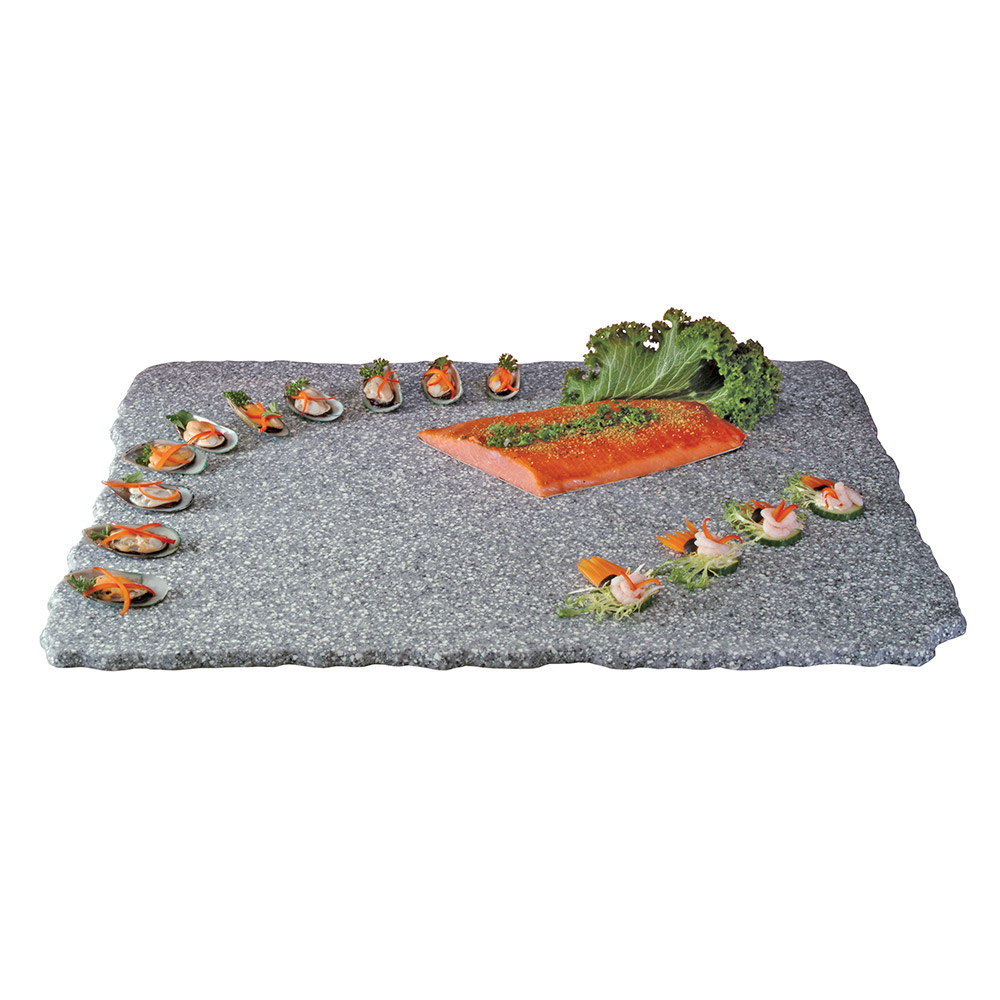 "Cal-Mil SS3039-30 30"" Rectangular Gourmet Faux Stone Serving Tray - Grey"