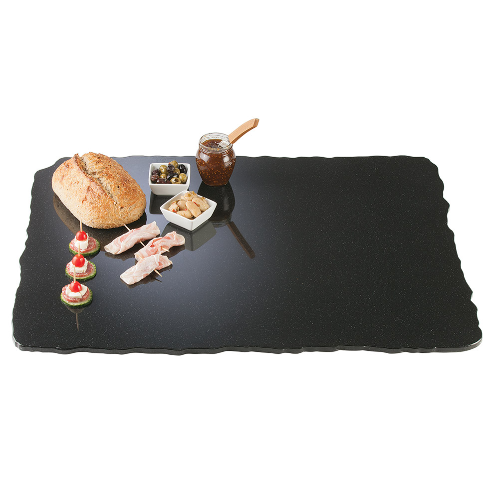 "Cal-Mil SS3039-31 30"" Rectangular Gourmet Faux Stone Serving Tray - Black"