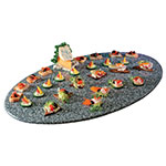 "Cal-Mil SS312-30 31"" Oval Gourmet Faux Stone Serving Tray - Grey"