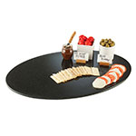 "Cal-Mil SS312-31 31"" Oval Gourmet Faux Stone Serving Tray - Black"