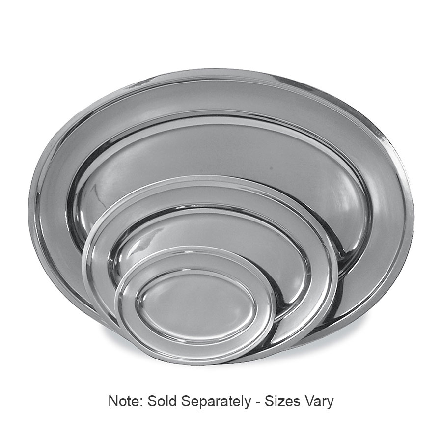 Browne Halco 105241 Serving Tray, Stainless Steel, with Rolled Edge, 16-1/4 x 10-5/8