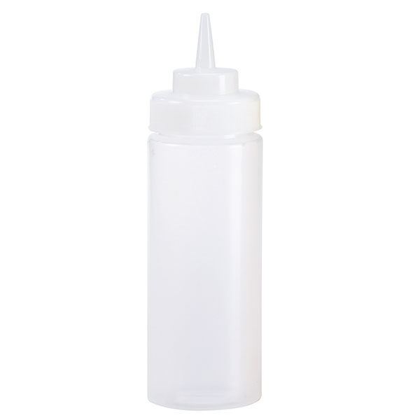Browne Halco 1102 8 oz Dressing Squeeze Bottle, No Drip Tip, Clear