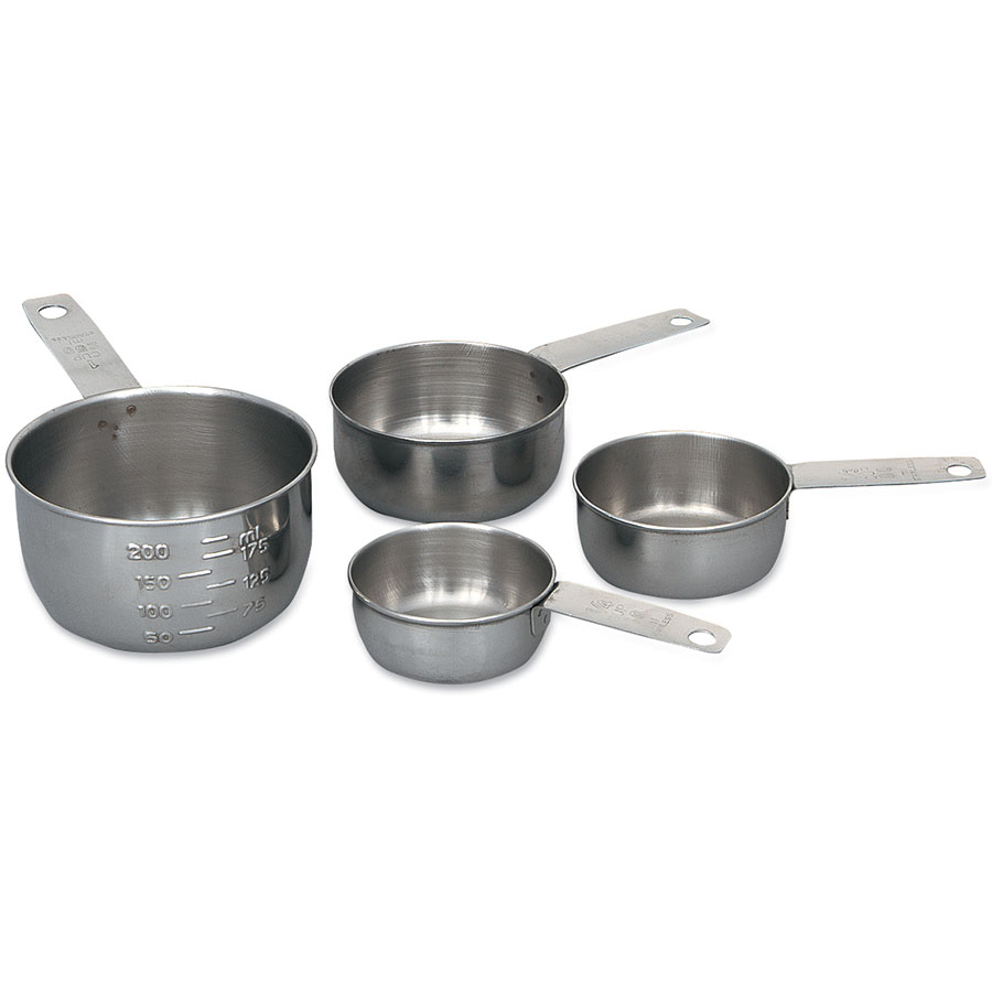 Browne Foodservice 1190MC Measuring Cup Set: 1/4, 1/3, 1/2 & 1 Cup, Long Handles, Graduated