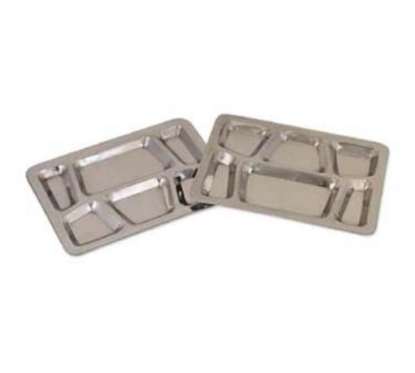 Browne Halco 1216SS Mess Tray, 6-Compartment, 12 x 16 in, Stainless Steel, Mirror Finish