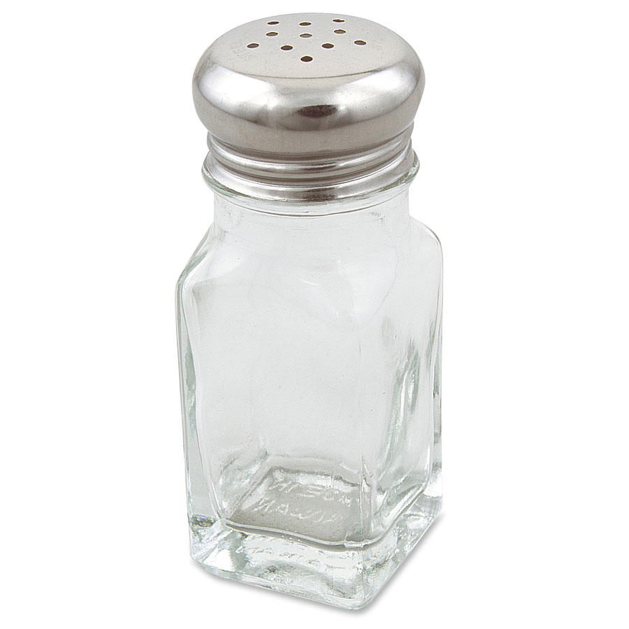 Browne Halco 154SP Salt & Pepper Shaker, 2 oz, Square Glass Jar, Stainless Steel Top