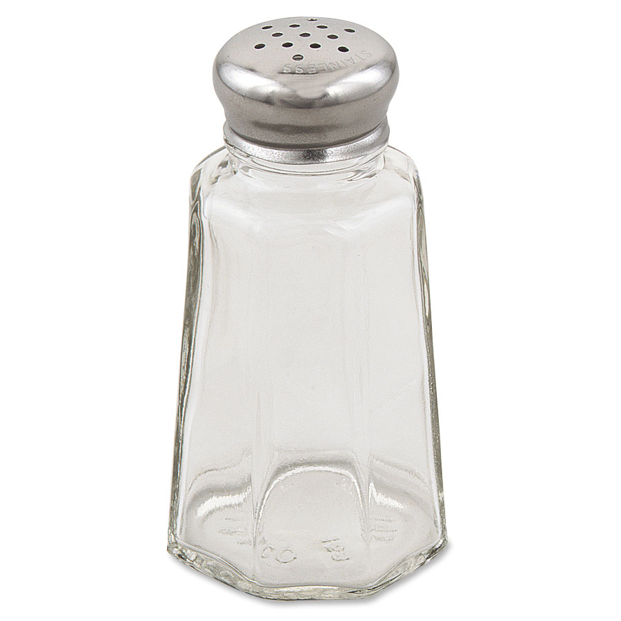 Browne Foodservice 156SP Salt & Pepper Shaker, 3 oz, Paneled Glass Jar, Stainless Steel Mushroom Top