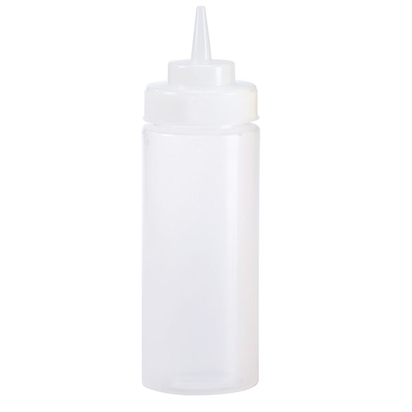 Browne Halco 2403W 24 oz Wide Mouth Squeeze Bottle, No Drip Tip, Clear