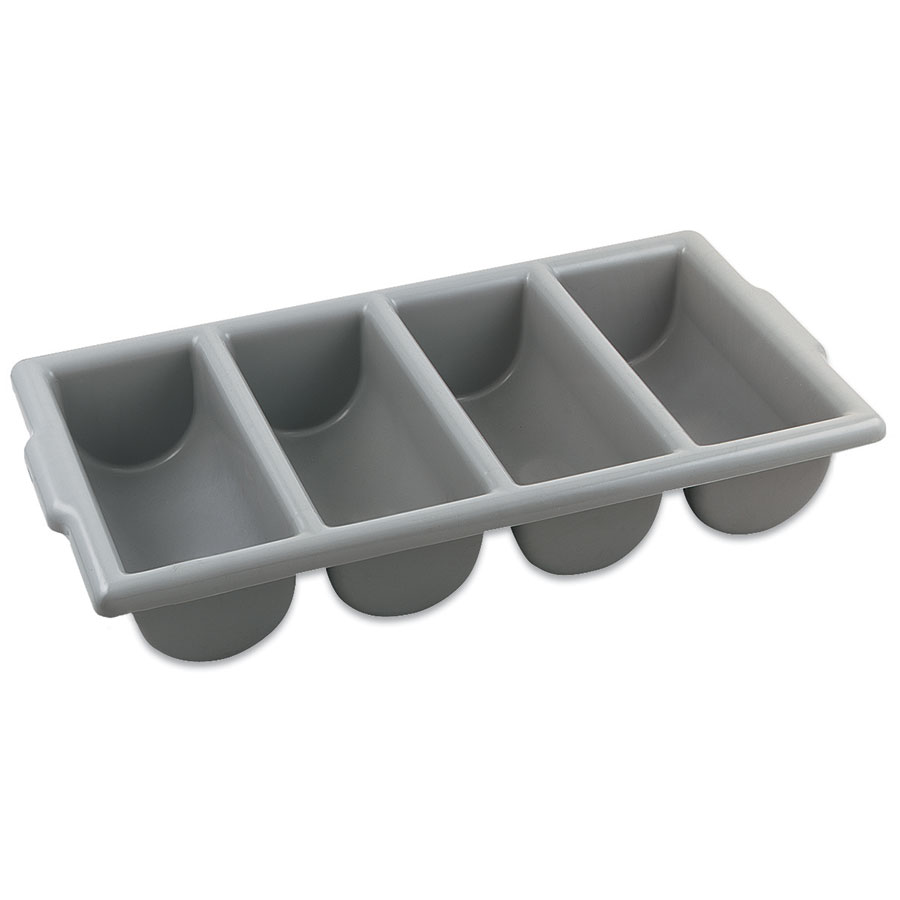 Browne Halco 1990 Cutlery Box, 4 Compartments, 22 x 12 x 4 in, Gray