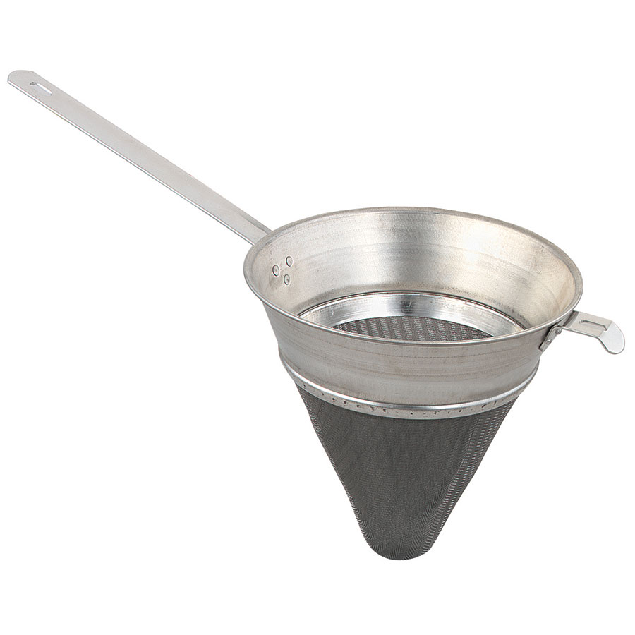 "Browne Halco 20P Bouillon Strainer, 8"" Bowl, Extra-Fine, Tin-Plated, Front Hook"