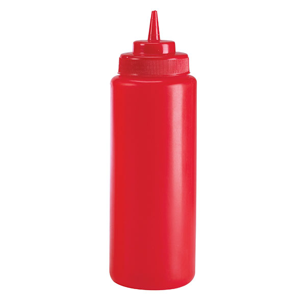 Browne Halco 2101 12 oz Ketchup Squeeze Bottle, No Drip Tip, Red