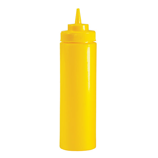 Browne Halco 2102 12 oz Mustard Squeeze Bottle, No Drip Tip, Yellow