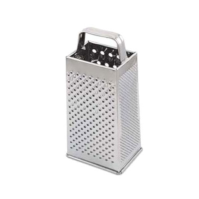 Browne Halco 3199 Square Cheese Grater, 2-Grating & 2-Slicing Surfaces, Stainless