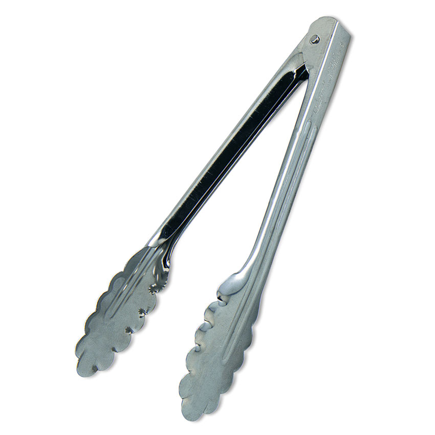 Browne Halco 3513EH Spring Tongs, 16 in, Extra Heavy, Stainless Steel, Scalloped Edge