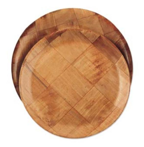 Browne Foodservice 3913 Woven Wood Plate, 12-3/4in dia, Break Resistant, Non-Absorbsent, Dishwasher Safe