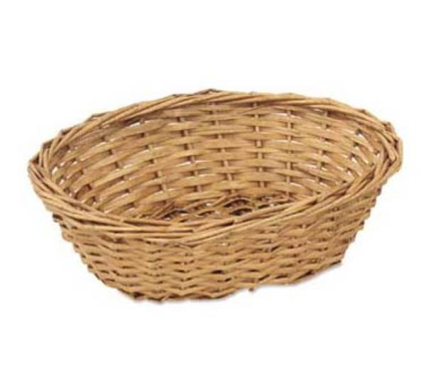 Browne Foodservice 4497 Willow Bread Basket, 9 x 7 x 3 in , Oval, Buff Colo
