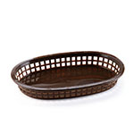 Browne Halco 496FBR Fast Food Basket, Oval, 10-1/4 x 7 x 1-1/2 in, Plastic, Brown