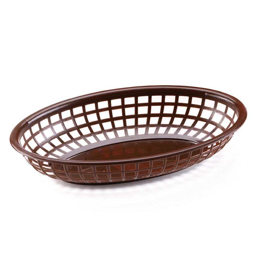 "Browne Halco 499FB Fast Food Basket, Oval 9 x 2"", Sloped Sides, Flexible Plastic, Brown"