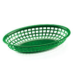 "Browne Halco 499FG Fast Food Basket, Oval 9 x 2"", Sloped Sides, Flexible Plastic, Green"