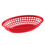 "Browne Halco 499FR Fast Food Basket, Oval 9 x 2"", Sloped Sides, Flexible Plastic, Red"
