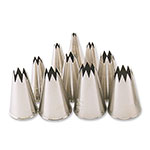 Browne 50409 Pastry Tube Set, All Sizes 0-9 Star Tip, SS