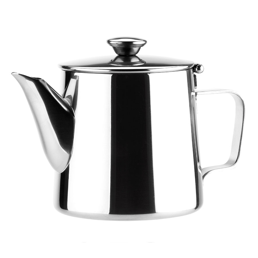 Browne Halco 515002 Contemporary Teapot,  12 oz, Short, 18/8 Stainless Steel
