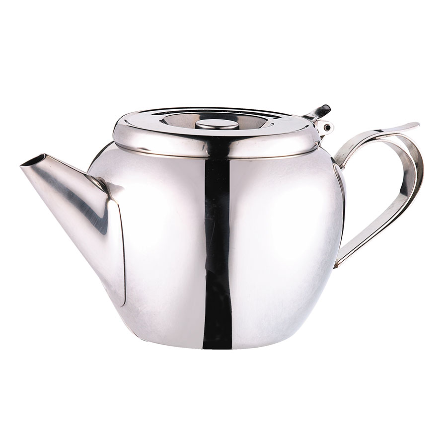 Browne Halco 515154 Stackable Teapot, 48 oz, 18/8 Stainless Steel, Stackable