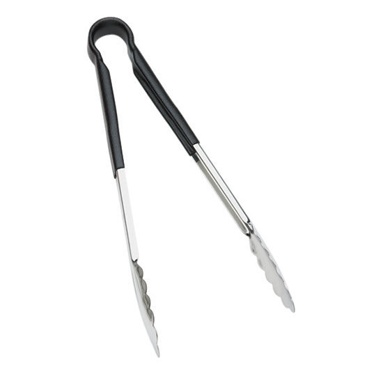 Browne Halco 5511BK 9 in Tongs, Stainless Steel, Black Handle