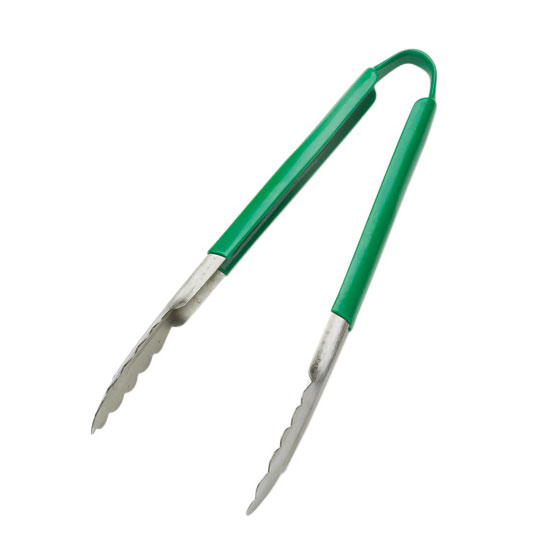 Browne Halco 5511GR 9 in Tongs, Stainless Steel, Green Handle