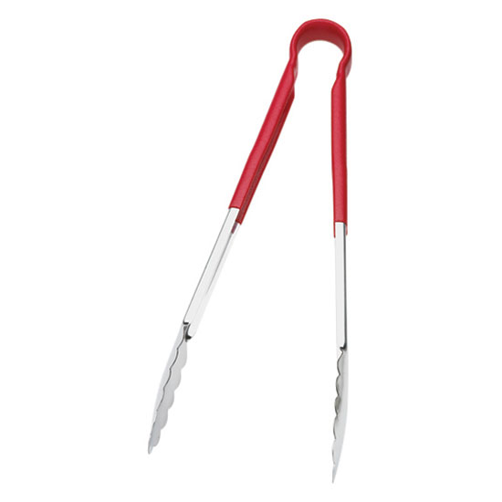 "Browne 5512RD 12"" Tongs, Stainless Steel, Red Handle"