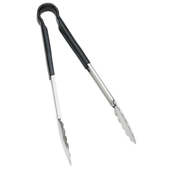 Browne Halco 5513BK 16 in Tongs, Stainless Steel, Black Handle