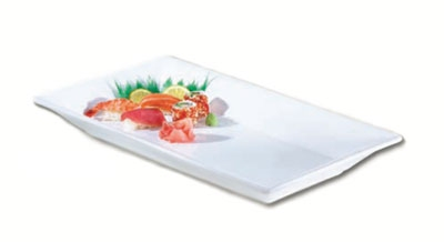 Browne Foodservice 563860 Rectangular Ceramic Platter, 14-1/2 x 7-1/2 x 1-3/4 in, White, Andalucia