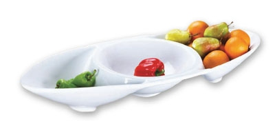Browne Foodservice 563862 Bowl, 35 in, Oval, 3 Compartment, Ceramic, Bright White, Baza
