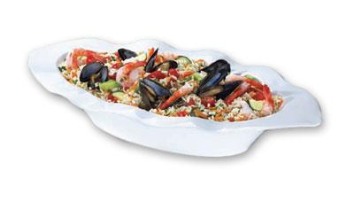 Browne Halco 563863 Bowl 19-1/2 x 10-1/2 x 3 in Ceramic Bright White Fado Restaurant Supply