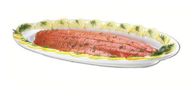 Browne Foodservice 563877 Salmon / Fish Platter, 23 x 8 x 1-1/4 in, Ceramic, Bright White