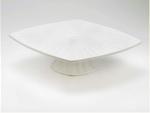 Browne Halco 563890 Starburst Ceramic Pedestal Cake Stand, White