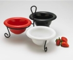 Browne Foodservice 563892 Heart Ceramic Display w/ 3-Bowls & Wire Stand, Red, White & Black