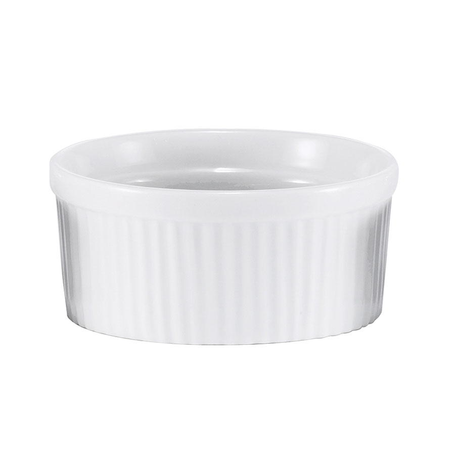 Browne Halco 564022W Ramekin, Ceramic, Ribbed, 9 oz, White
