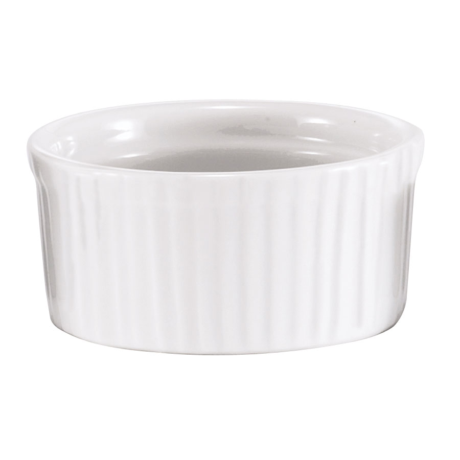 Browne Foodservice 564024W Ramekin, Ceramic, Ribbed, 4 oz, White