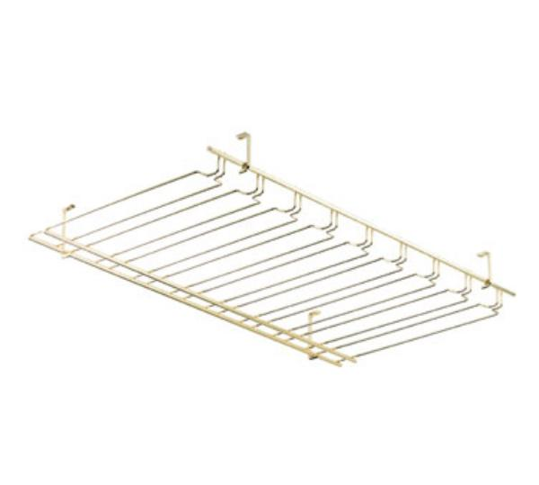 Browne Foodservice 57183660 Overhead Glass Hanger/ Rack, 8 Slot, Brass
